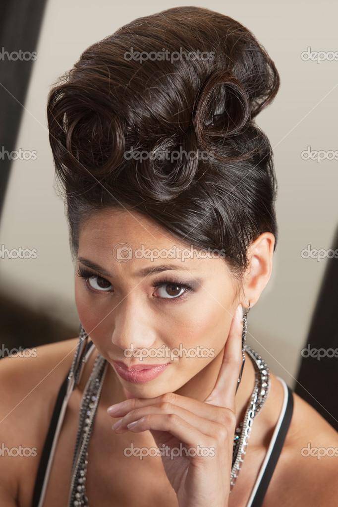 Serious Female In Retro Hairdo Stock Photo Creatista 16943791