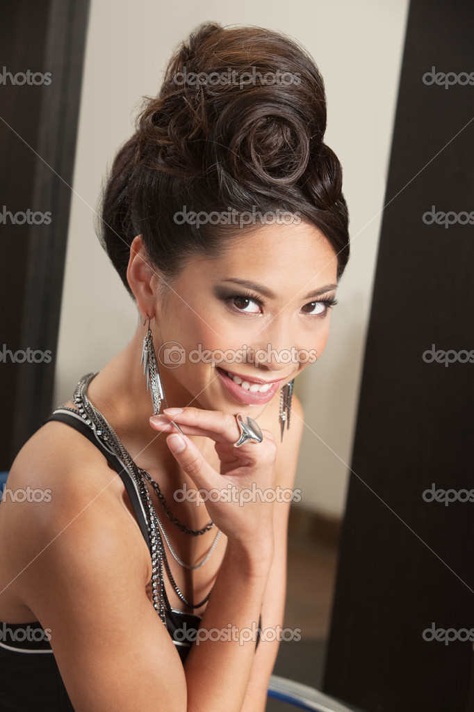 Smiling Woman With Retro Hairdo Stock Photo Creatista 16943797