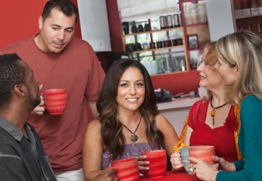 Native Woman with Friends in Cafe