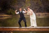Fotografie gleichen Geschlechts-paar, die Spaß am See