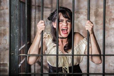 Portrait of Screaming Female Prisoner