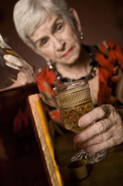 Eldery alcoholic woman