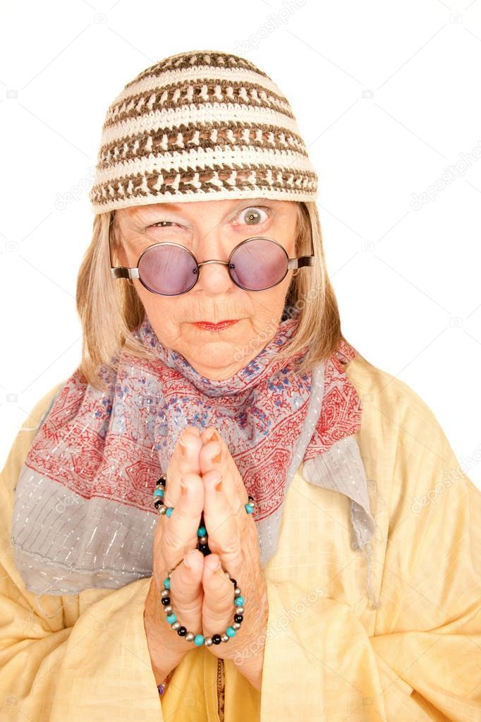 0e25eca2b2 mujer loca nueva era con una túnica amarilla — Fotos de Stock ...