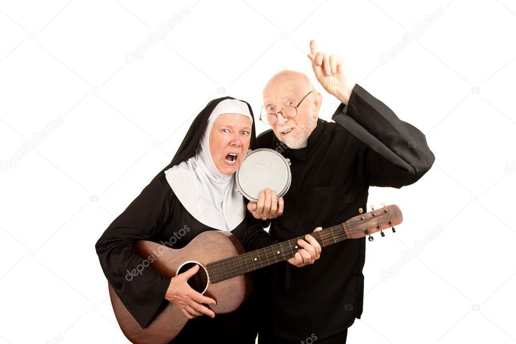 Angry musical priest and nun stock photo creatista 40082271 - Stock cuisine saint priest ...