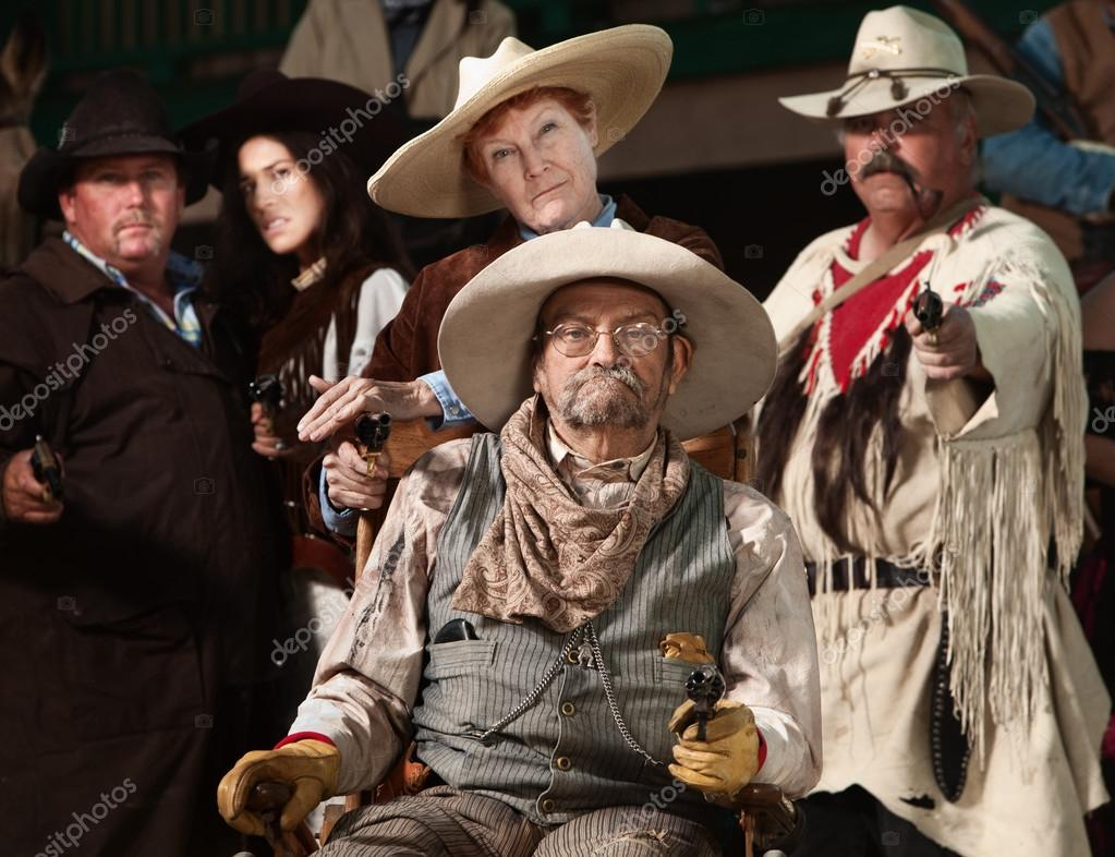 814bb785e90 Old West Bandit with Gang — Stock Photo © creatista  40889349