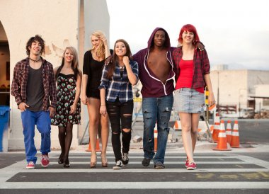 Young Teen Punks Crossing Street