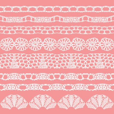 Set of beautiful lace vector trims.