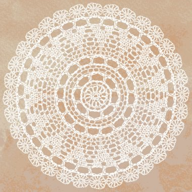 Elegant lacy doily on watercolor background