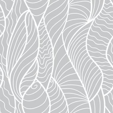 Hand drawn seamless pattern with various elements, lines, waves