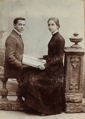 Vintage photo of young man and woman.