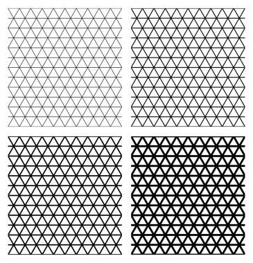 Set of 4 elegant triangular meshes.