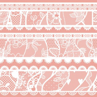 Set of lacy vintage trims. Vector illustration. stock vector