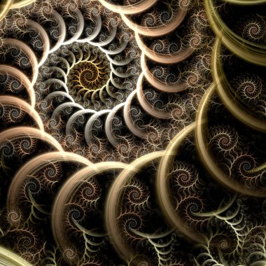 Abstract fractal spiral on the black background