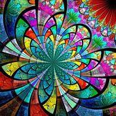 Fotografie Colorful fractal flower, digital artwork