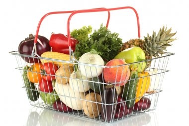 Fresh vegetables and fruit in metal basket isolated on white background