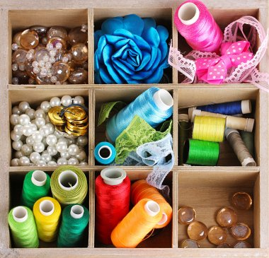 thread and material for handicrafts in box isolated on white