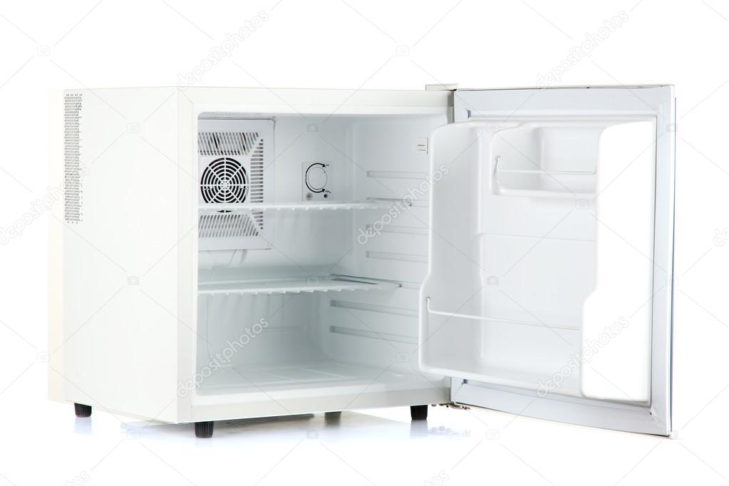 Minibar Kühlschrank Edelstahl : Öffnen sie einen leeren mini kühlschrank isoliert auf weiss