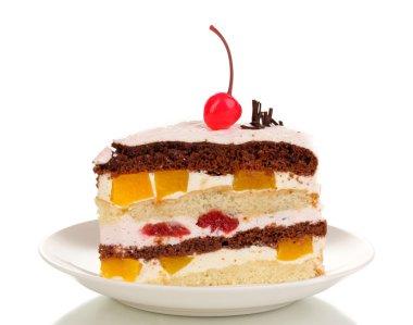 Layered fruit cake isolated on white