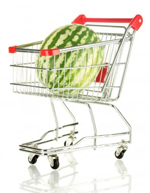 Ripe watermelon in metal trolley isolated on white
