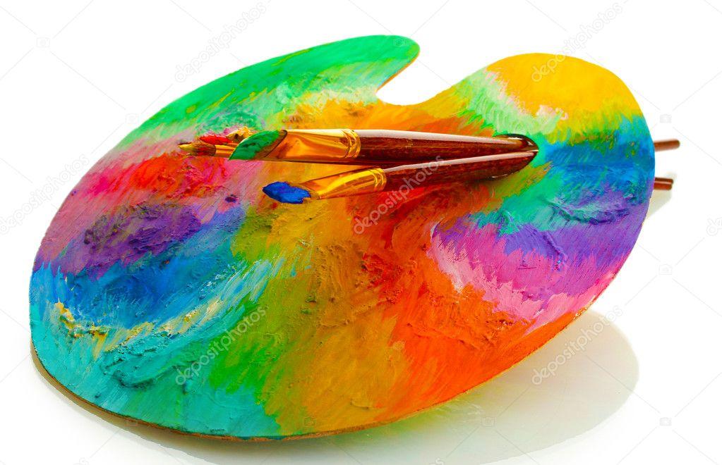 Palette d 39 art en bois avec la peinture et des pinceaux - Peinture pour palette en bois ...