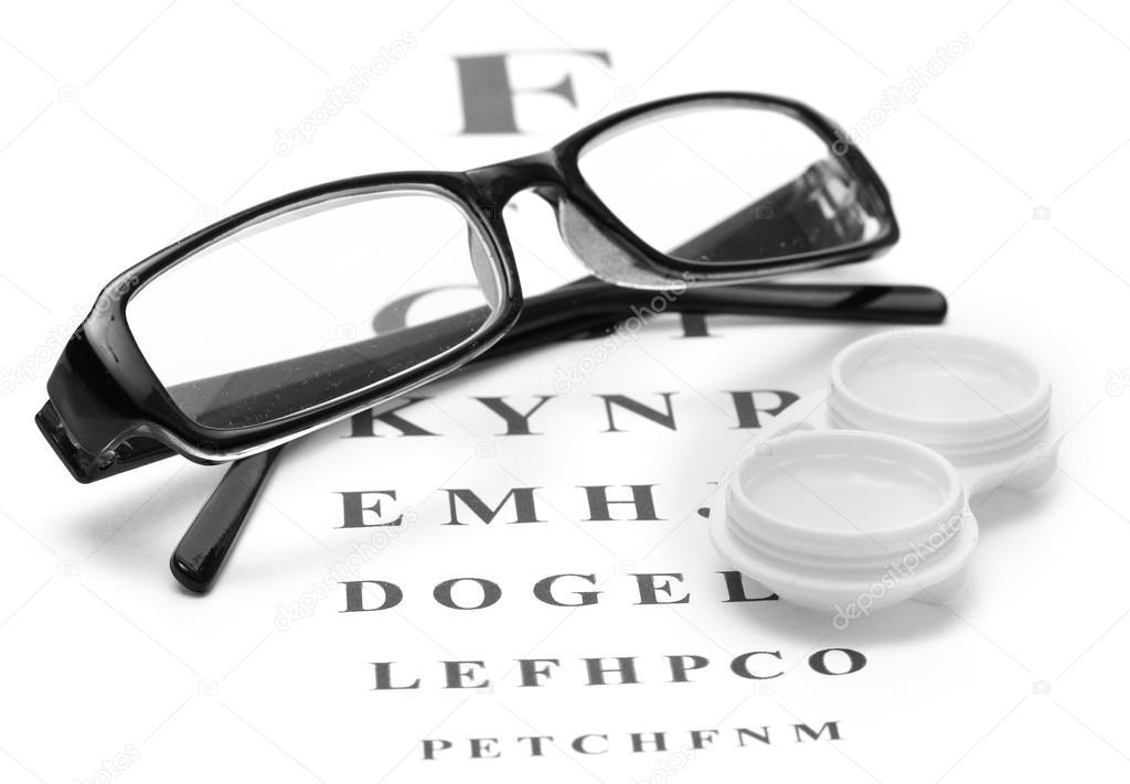 4a7aa04a98 Anteojos y lentes de contacto en contenedores, sobre fondo de ojo tabla  snellen– Imagen de Archivo