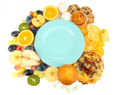 Blue plate surrounded by useful and harmful food isolated on white