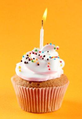 tasty birthday cupcake with candle, on orange background