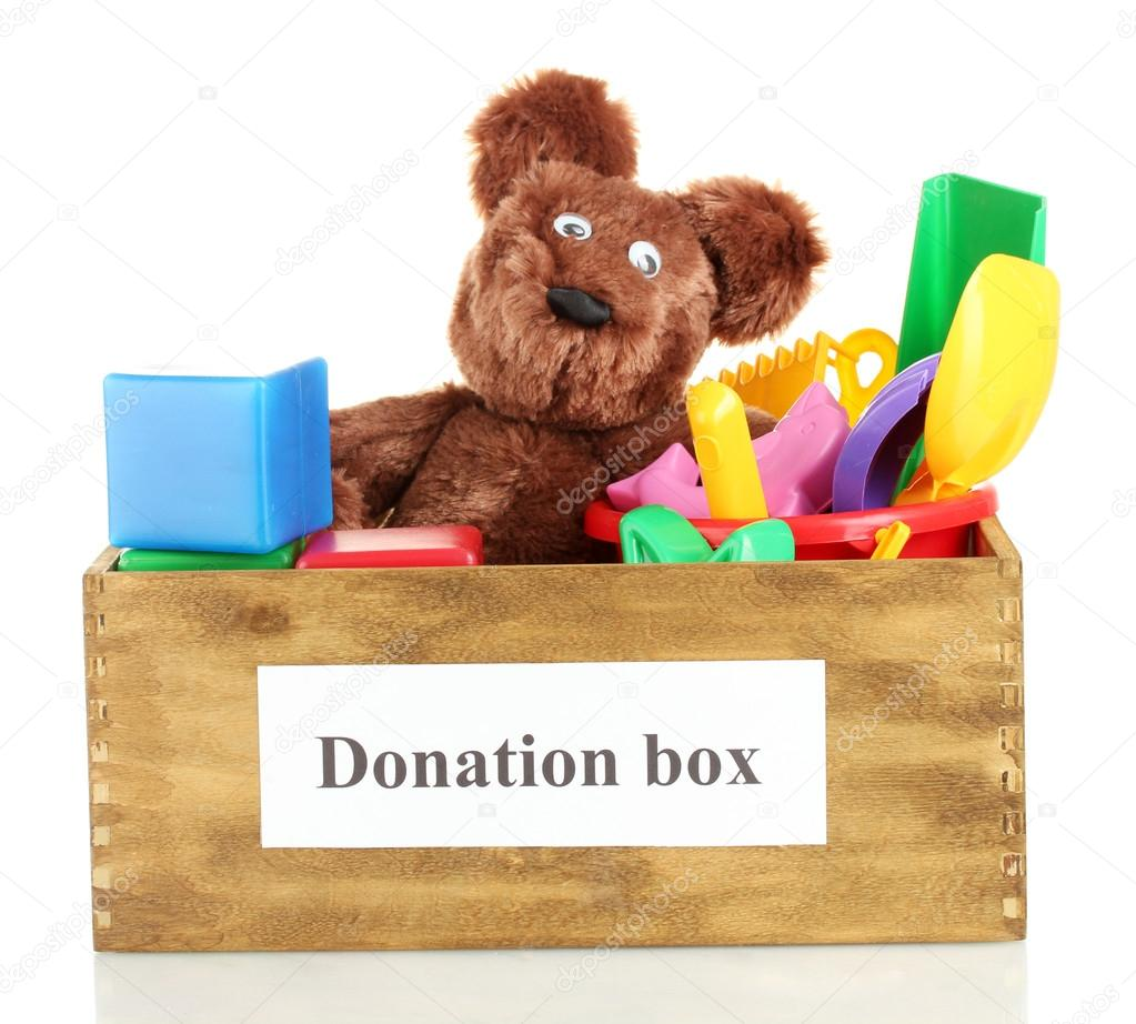 Donation box with children toys isolated on white — Stock ...