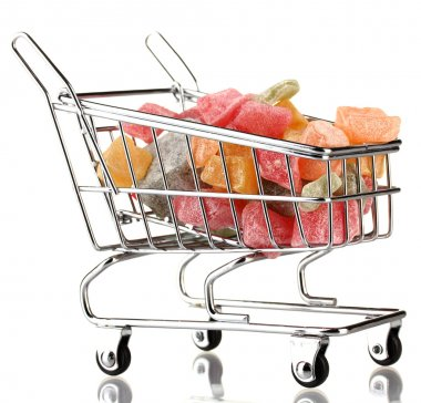 shopping trolley with jelly candies, isolated on white
