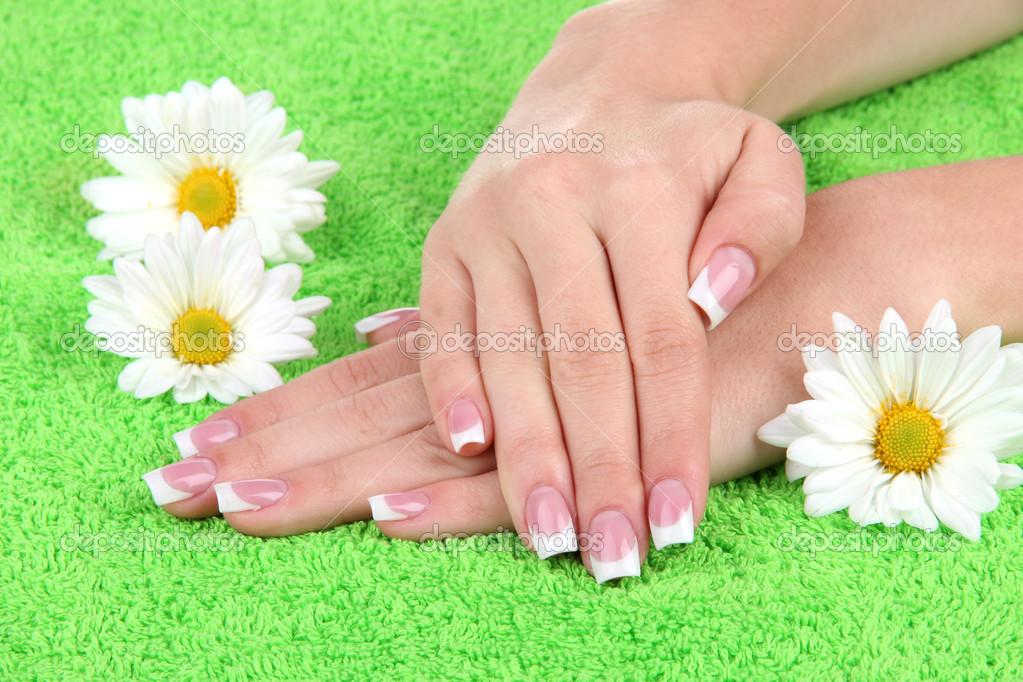 las manos de mujer con francés manicura y flores en toalla verde ...