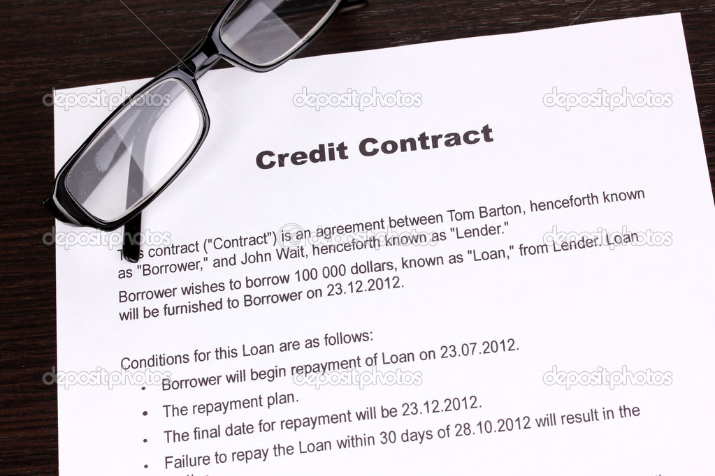 Credit Contract CloseUp  Stock Photo  Belchonock