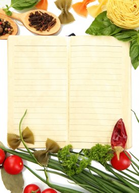 book for recipes, vegetables and spices, isolated on white