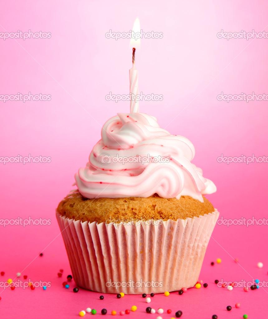 Lecker Geburtstag Cupcake Mit Kerze Auf Rosa Hintergrund