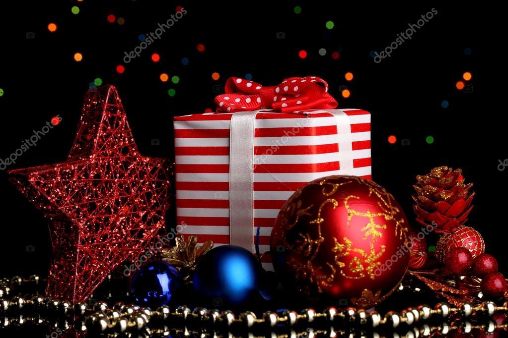 Arka Plan Yılbaşı Dekor Ve Hediye Yılbaşı Kompozisyona Noel ışıkları