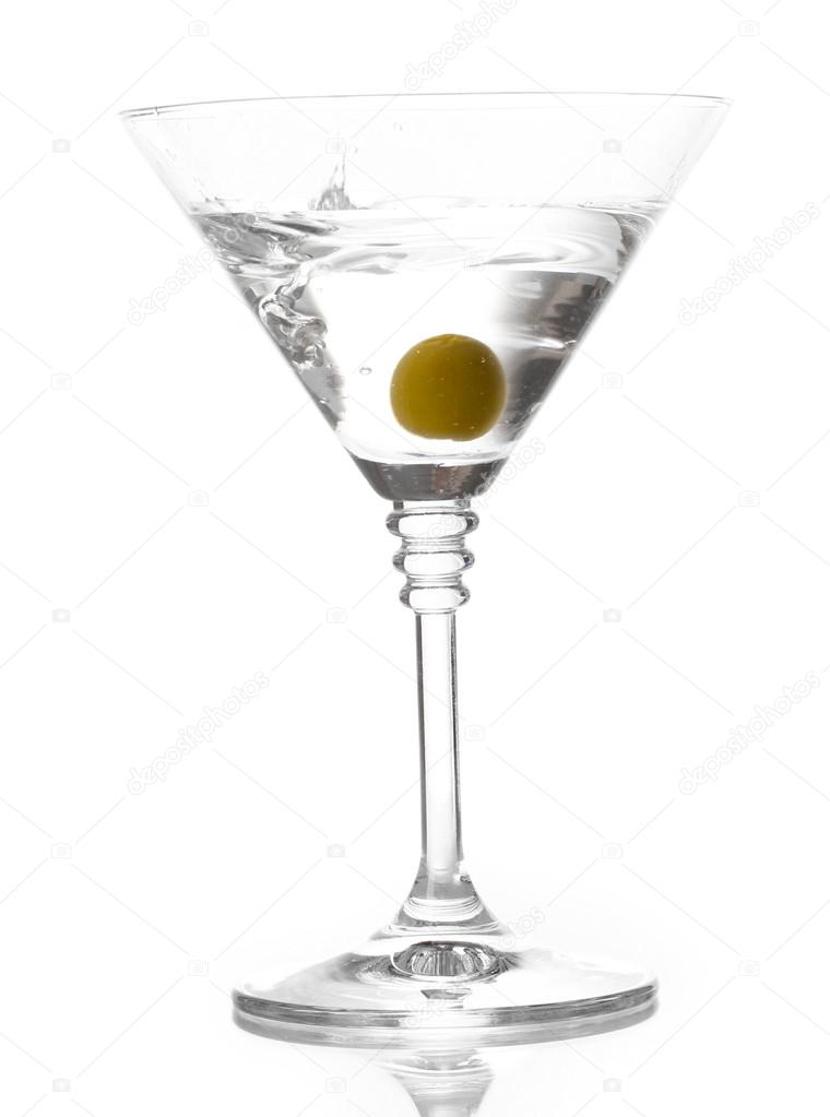 Martini Glass With Olive Isolated On White Stock Photo