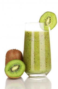 Glass of fresh kiwi juice isolated on white