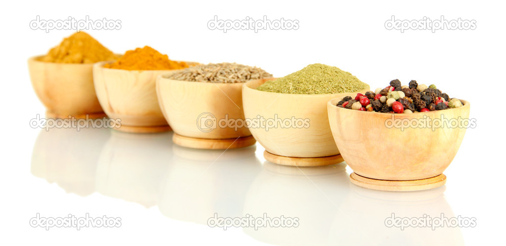 wooden bowls with spices isolated on white — Stock Photo