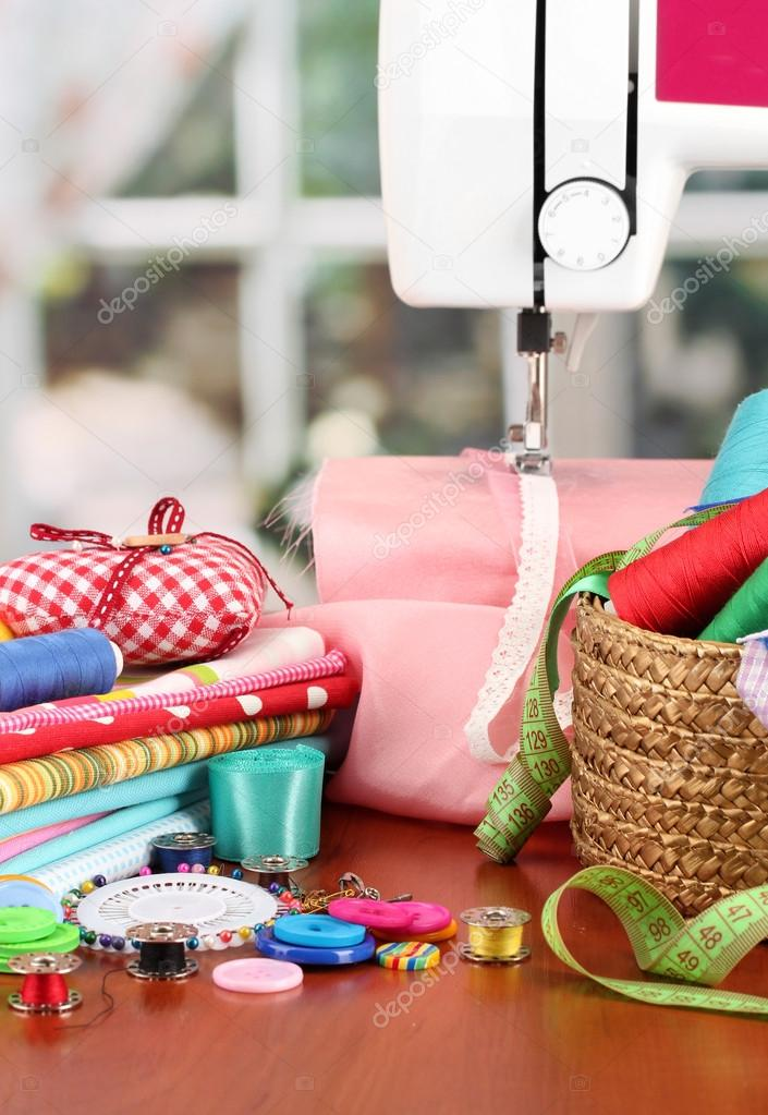 Sewing Machine And Fabric On Bright Background Stock Photo Best White Sewing Machine 1632