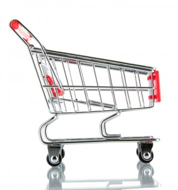 Empty shopping trolley, isolated on white stock vector