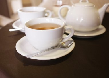 Cups of tea in cafe