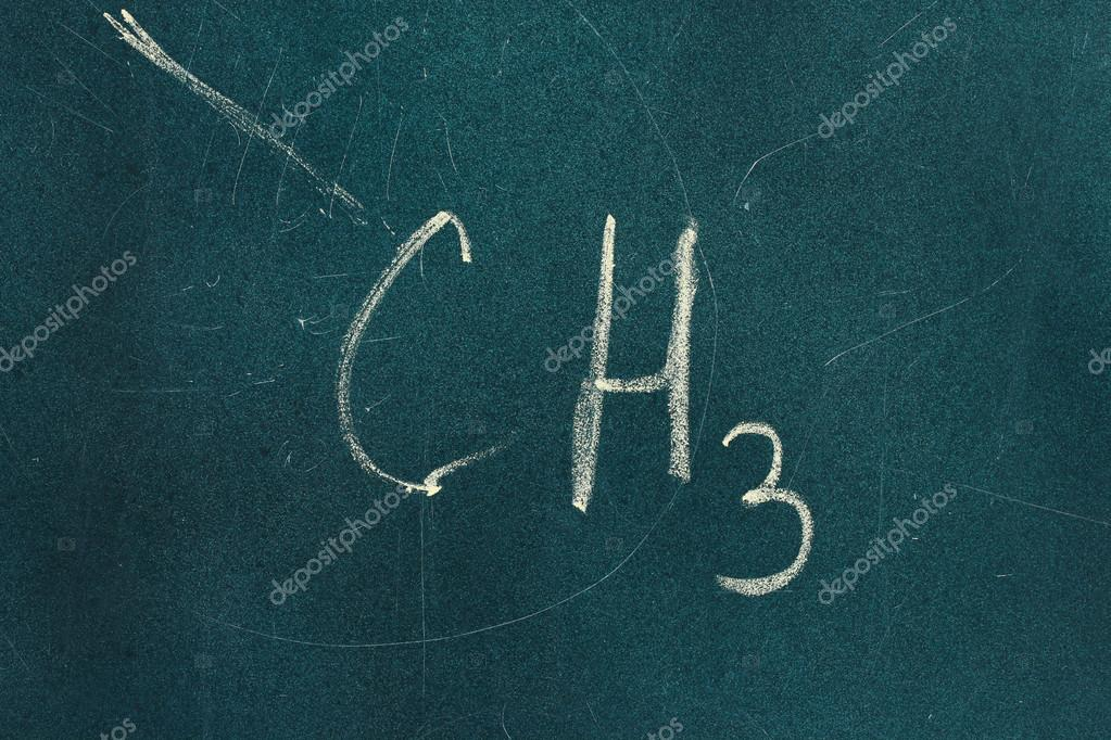 Chemical structure formula written on blackboard with chalk ...
