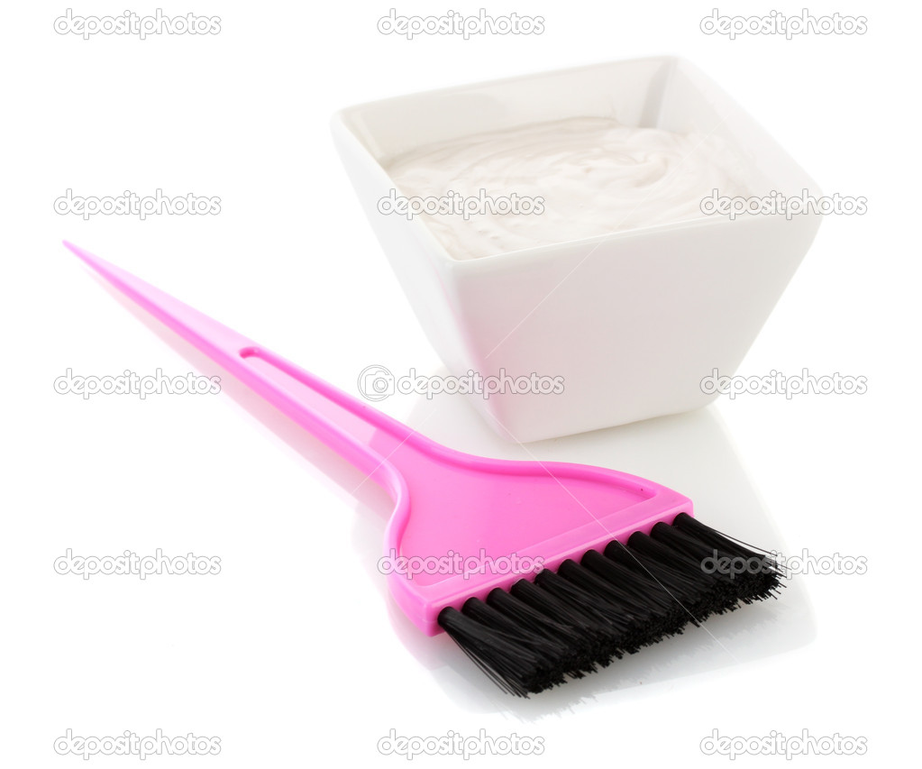 Bowl with hair dye and pink brush for hair coloring, isolated on ...