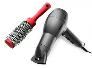 hair dryer and comb brush, isolated on white