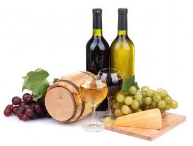 Barrel, bottles and glasses of wine, cheese and grapes, isolated on white