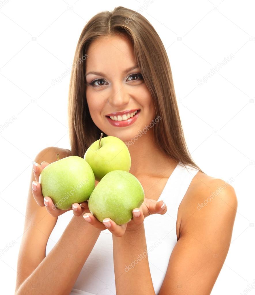эротика с зеленым яблоком позирует
