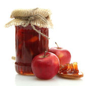 Photo tasty homemade jam, isolated on white