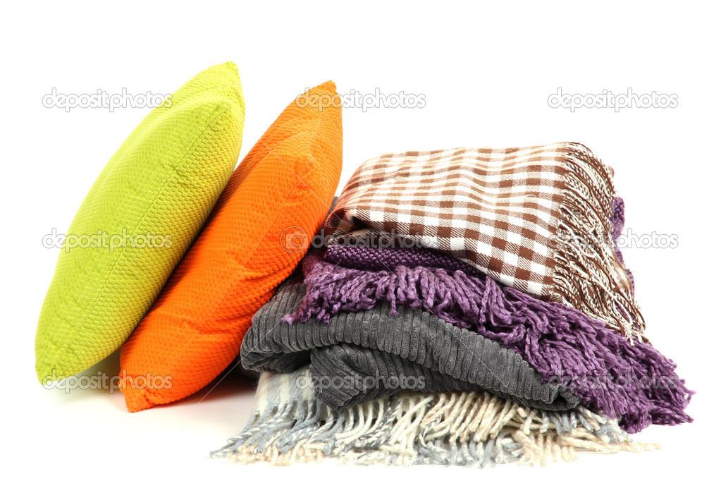 Kussen Wit 15 : Plaids en kleur kussens geïsoleerd op wit u stockfoto