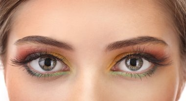 beautiful female eyes with bright autumn make-up