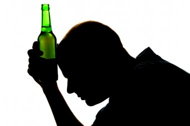 Silhouette of man with bottle of alcohol, isolated on white