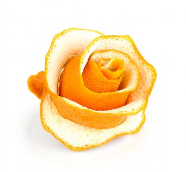 Decorative rose from dry orange peel isolated on white
